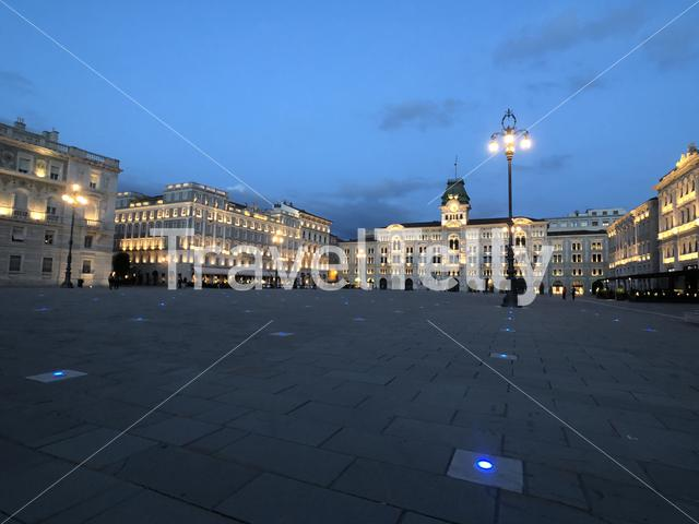 City hall at night in Trieste Italy