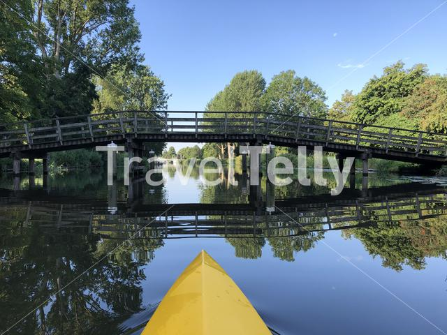 Canoeing towards the old town of Sneek in Friesland The Netherlands