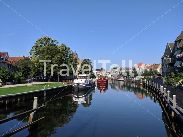 Canal around the old town of Zwolle, The Netherlands