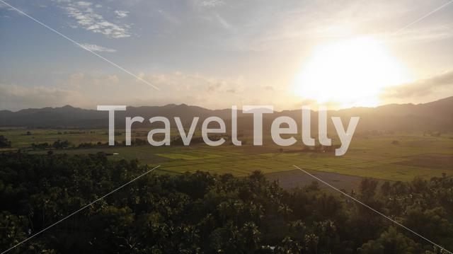 Sunset at rice field from above, San Vincente, Philippines