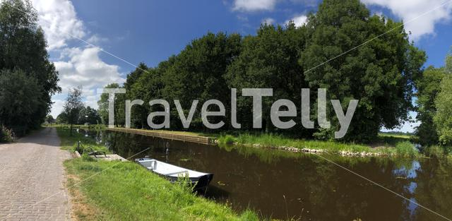 Panorama from the canal of the turfroute in Gorredijk, Friesland The Netherlands