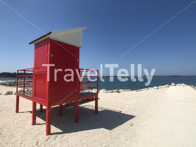 Guardhouse at the beach around Valbandon Croatia
