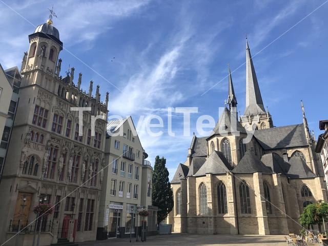 Big market square with the Willibrordi cathedral in Wesel, Germany