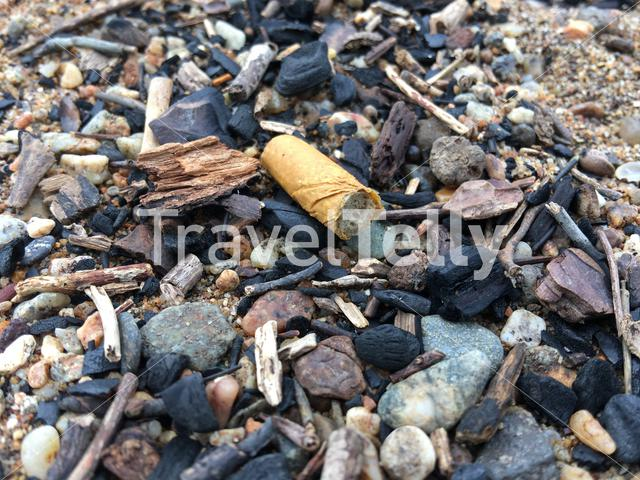 Cigarette filter at the beach