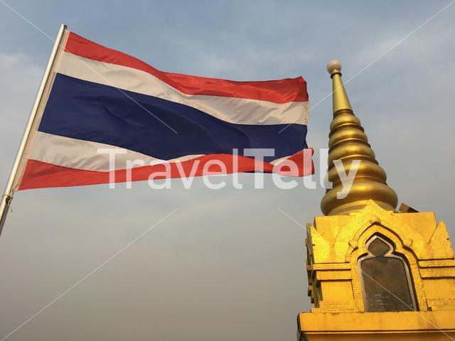 Thai flag at the Golden Mount in Bangkok Thailand