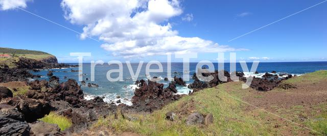 Panorama landscape from the coast at Hanga Roa Easter Island, Rapa Nui