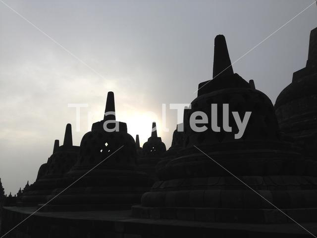 Sunrise at the Borobudur Temple a 9th-century Mahayana Buddhist temple in Magelang, Central Java, Indonesia