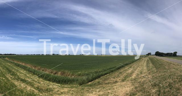 Panoramic frisian scenery in The Netherlands