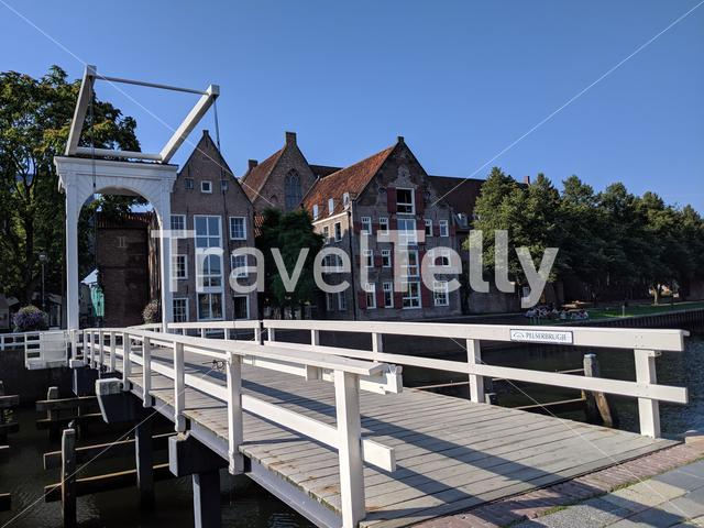 Wooden bridge over a canal in the old town of Zwolle, The Netherlands