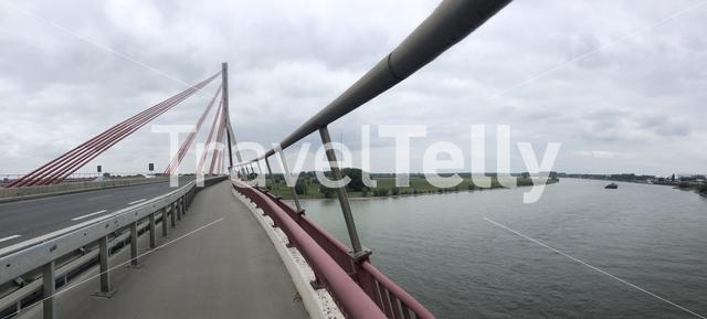 Panorama from a bridge over the river Rhein around Wesel in Germany