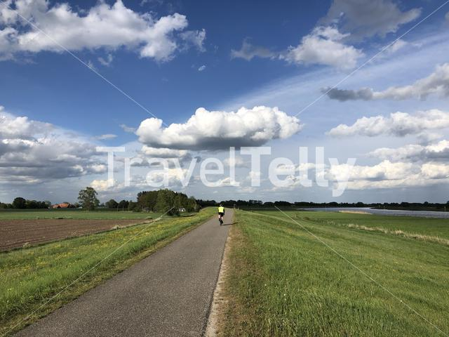 Cycling along the IJssel in The Netherlands
