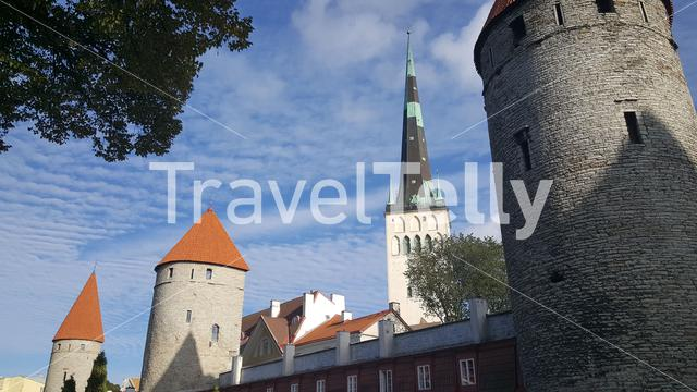 Old town with the Koismae Tower and Eppingi Tower in Tallinn, Estonia