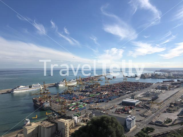View from the Montjuïc Castle over the harbor in Barcelona Spain