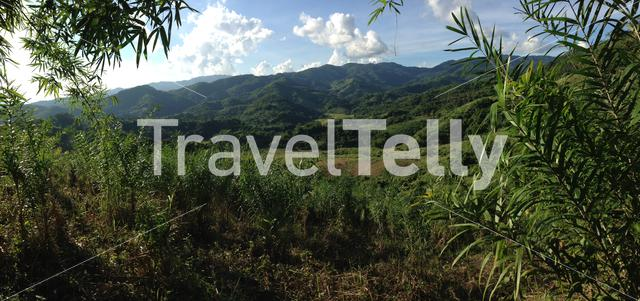Green mountains landscape panorama in north Thailand