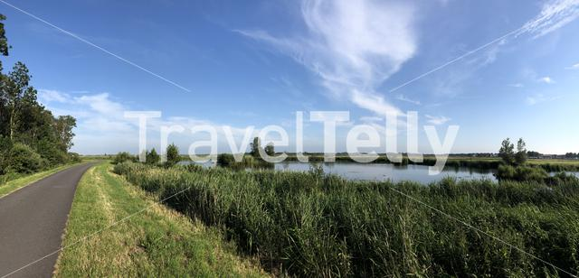 Panorama from a bicycle path and lake around the Sneekermeer in Friesland The Netherlands