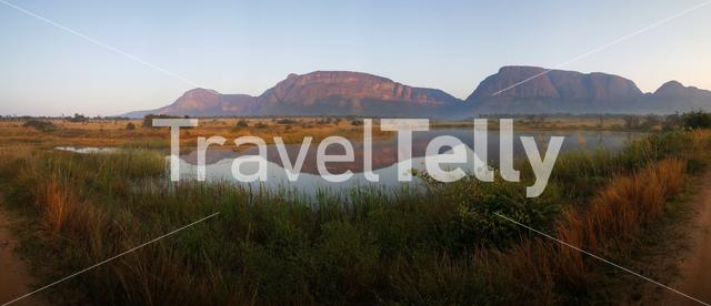 Mountain range panorama at Entabeni Nature Reserve in South Africa