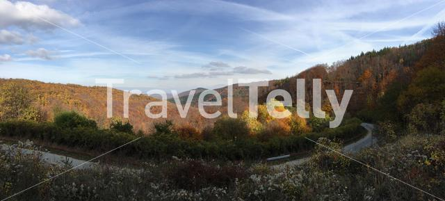 Panorama from a road through an autumn landscape in Bulgaria