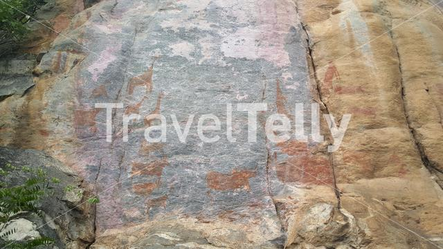 Drawing on the stone at Tsodilo hills in Botswana
