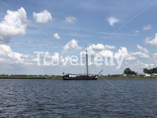 Sailboat at Terhornsterlake in Friesland, The Netherlands