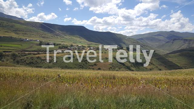 Mountain range scenery with a village in Lesotho