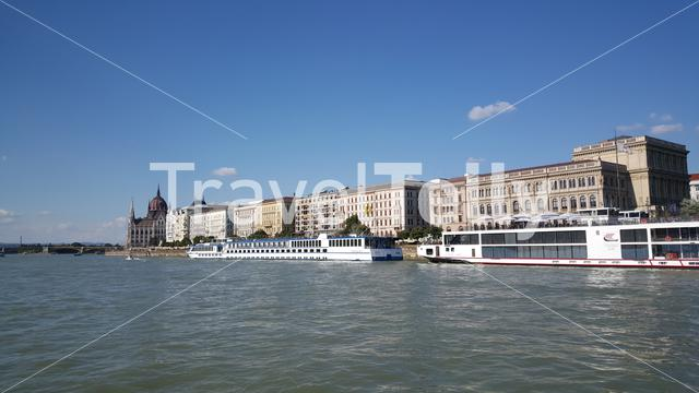 View from a cruise on the Danube river with the Hungarian Parliament Building in Budapest Hungary