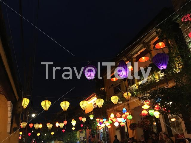 Colorful lanterns at night in the street of Hoi An Vietnam