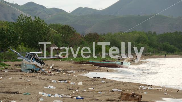 Pollution at the beach of Labuan Bajo Flores Indonesia