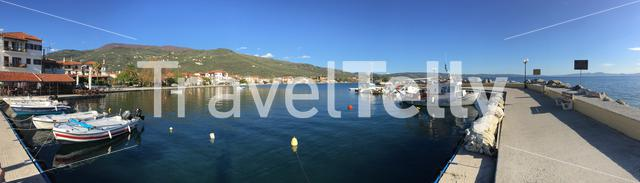 Panorama from the small harbour in Kato Gatzea Greece