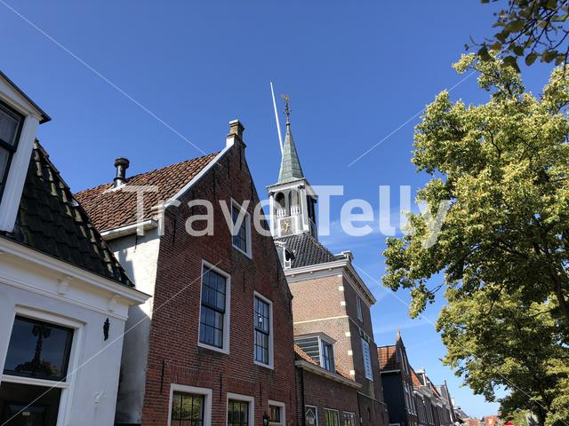 Architecture in old town of Makkum, Friesland, The Netherlands
