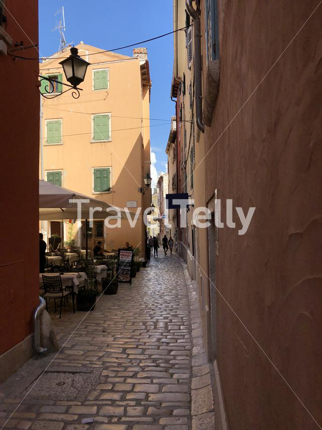 Street in the old town of Rovinj Croatia