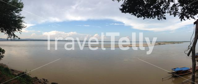 Panorama from the Irrawaddy river in Bagan Myanmar