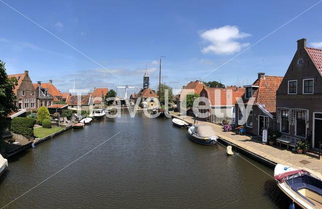 Panorama from the old town of Hindeloopen, Friesland The Netherlands
