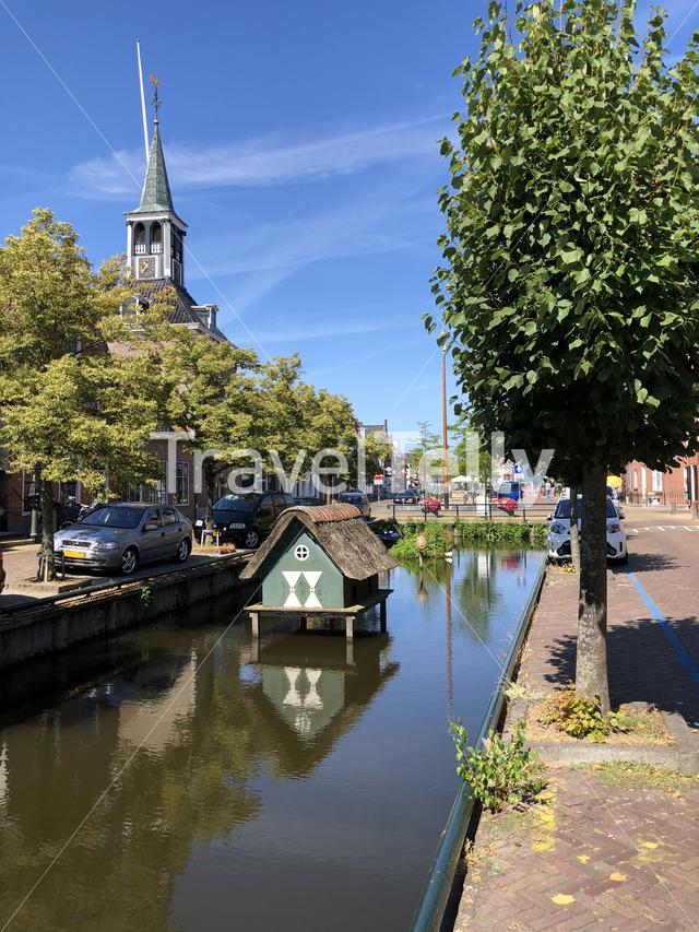 Canal old town of Makkum, Friesland, The Netherlands