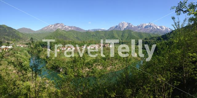 Panorama from the Neretva river and Luska village in Bosnia and Herzegovina
