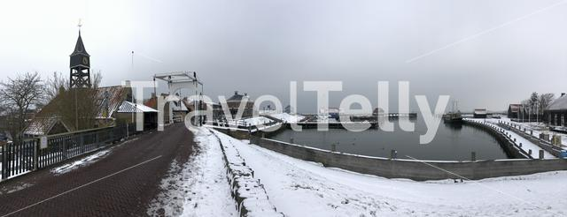Panorama from Hindeloopen during winter in Friesland The Netherlands