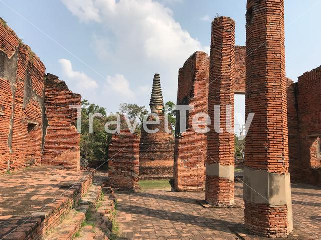 Ruins at the Wat Phra Sri Sanphet the most important temple in the Ayutthaya Kingdom, Thailand
