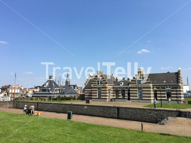 Panorama from the sluice in Lemmer, Friesland The Netherlands