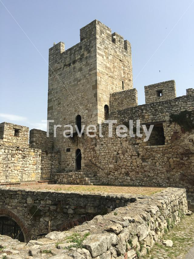 The wall and tower of the Belgrade Fortress in Belgrade Serbia