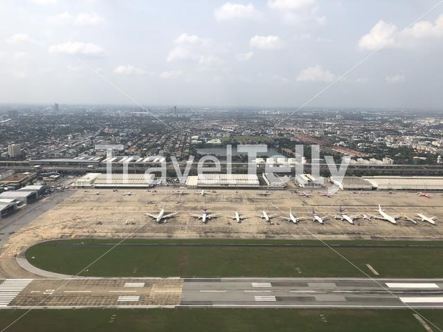 Take off from Don Mueang International Airport in Bangkok Thailand
