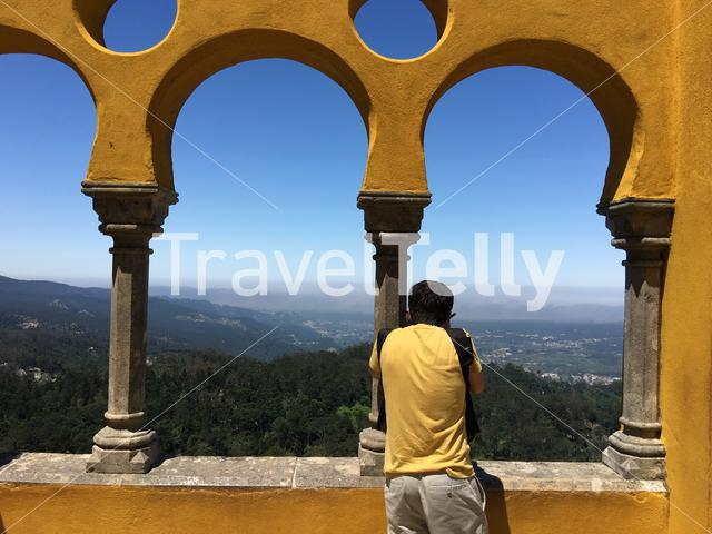 Photographing the view from the Pena Palace in Sintra Portugal