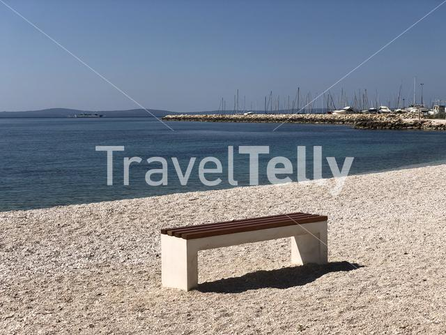Bench on Znjan City Beach in Split Croatia