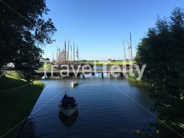 Boats at the sleattermer gat in Sloten Friesland The Netherlands