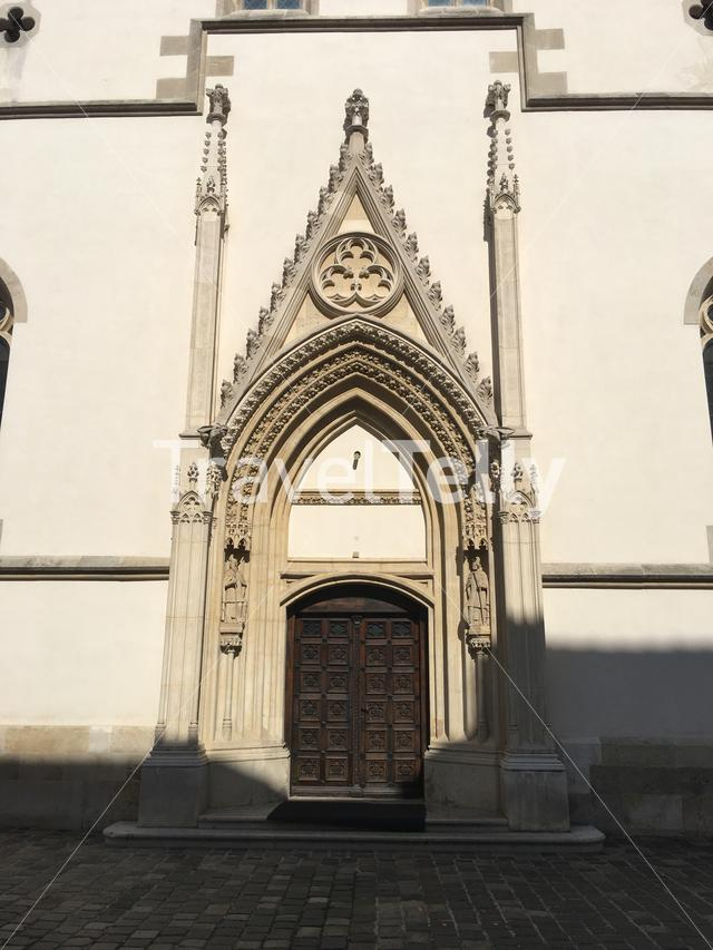 Side door at the St. Mark's Church in the old town of Zagreb Croatia