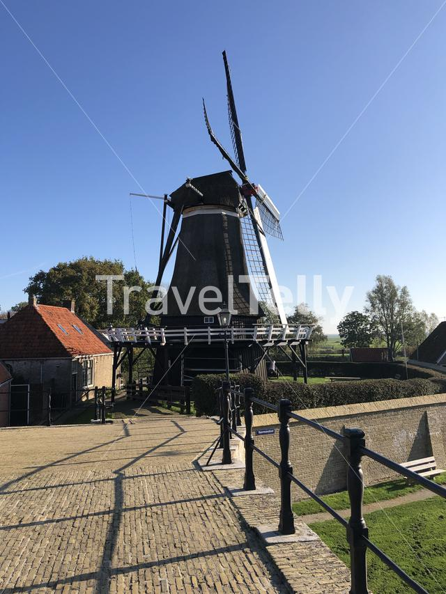 Windmill in Sloten, Friesland, The Netherlands