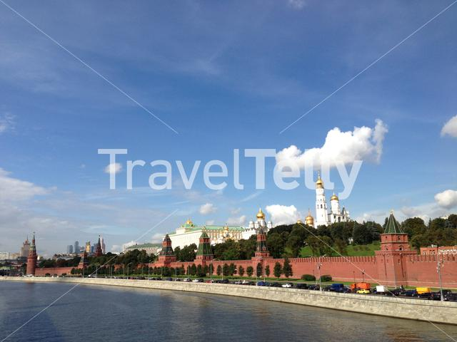 Moskva River with the kremlin on the background in Moscow, Russia