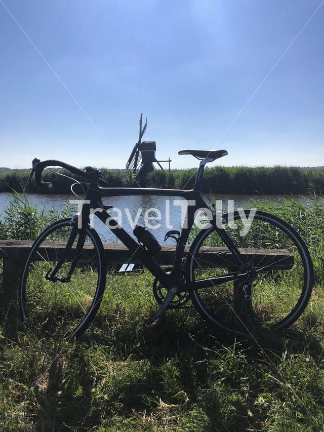Race bicycle with a windmill in The Netherlands