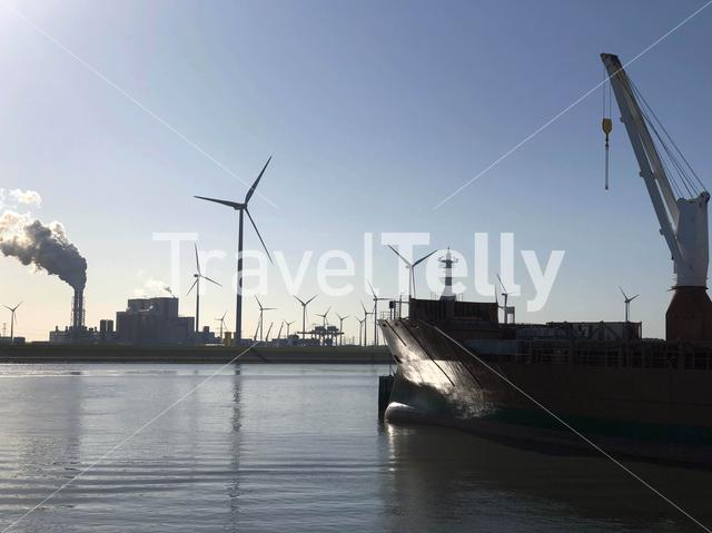 Power Station and cargo ship in the Eemshaven, Groningen The Netherlands