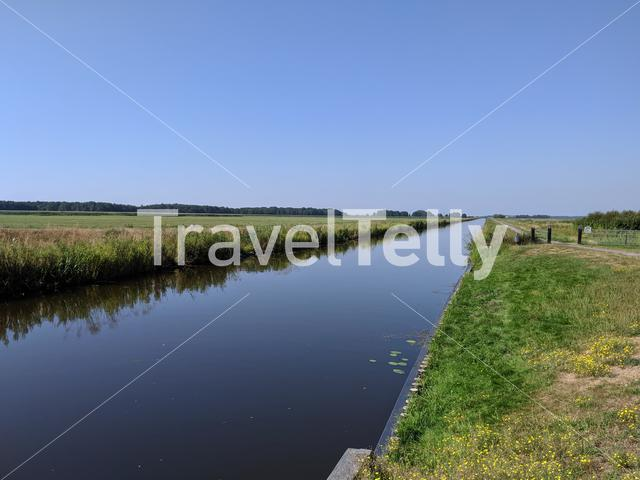 Canal around Oldeberkoop in Friesland, The Netherlands