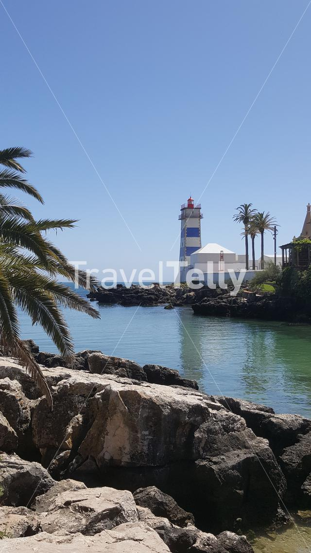 Lighthouse in Cascais, Portugal with a palmtree and rocks