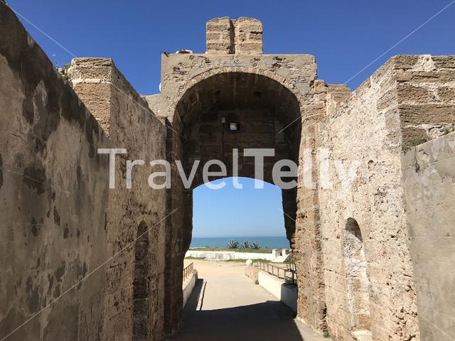 Gate to Castle of San Sebastian in Cadiz Spain